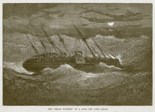 "The ""Great Eastern"" in a Gale off Cape Clear. Illustration for The Sea by F Whymper (Cassell, c 1890)."