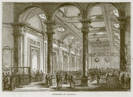 Interior of Lloyd's. Illustration for The Sea by F Whymper (Cassell, c 1890).