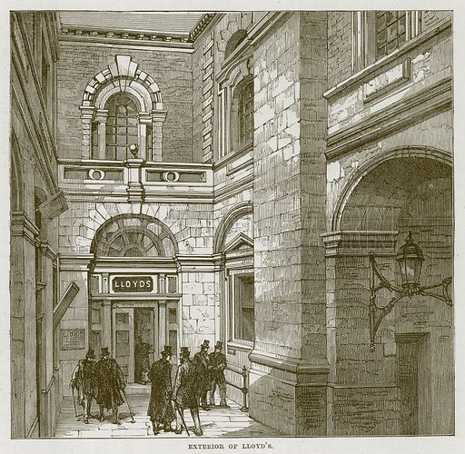 Exterior of Lloyd's. Illustration for The Sea by F Whymper (Cassell, c 1890).