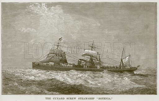 """The Cunard Screw Steam-Ship """"Bothnia."""" Illustration for The Sea by F Whymper (Cassell, c 1890)."""