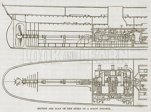 Section and Plan of the Stern of a Screw Steamer. Illustration for The Sea by F Whymper (Cassell, c 1890).
