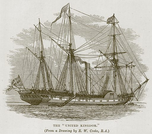 """The """"United Kingdom."""" Illustration for The Sea by F Whymper (Cassell, c 1890)."""
