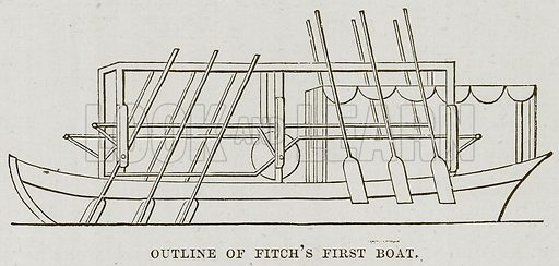 Outline of Fitch's First Boat. Illustration for The Sea by F Whymper (Cassell, c 1890).