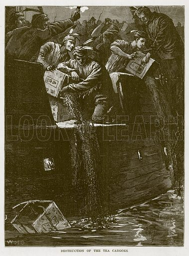 Destruction of the Tea Cargoes. Illustration for The Sea by F Whymper (Cassell, c 1890).