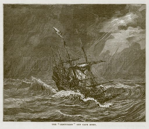 "The ""Centurion"" off Cape Horn. Illustration for The Sea by F Whymper (Cassell, c 1890)."