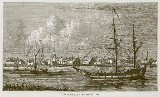 Old Dockyard at Deptford. Illustration for The Sea by F Whymper (Cassell, c 1890).