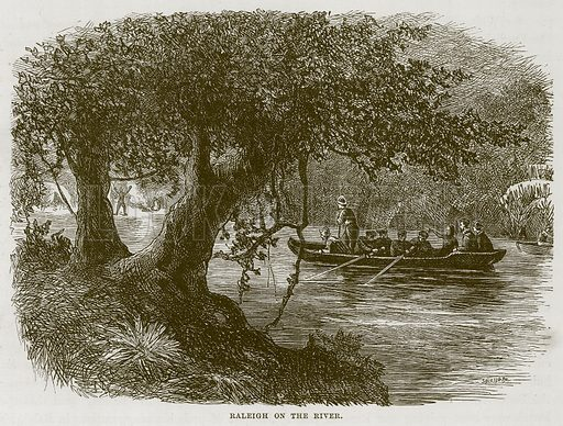 Raleigh on the River. Illustration for The Sea by F Whymper (Cassell, c 1890).