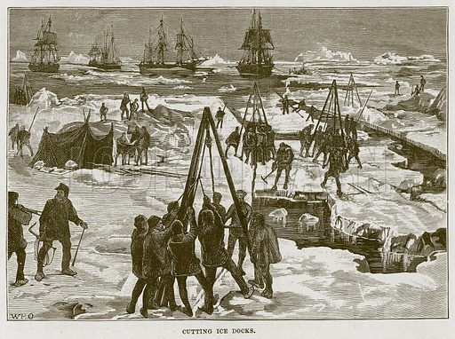 Cutting Ice Docks. Illustration for The Sea by F Whymper (Cassell, c 1890).