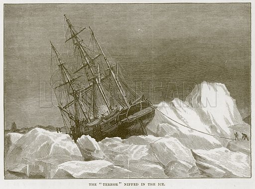 "The ""Terror"" Nipped in the Ice. Illustration for The Sea by F Whymper (Cassell, c 1890)."