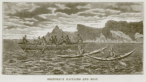 Esquimaux Kaiyacks and Boat. Illustration for The Sea by F Whymper (Cassell, c 1890).