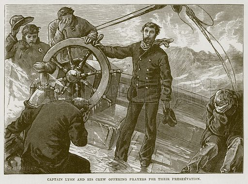 Captain Lyon and his Crew Offering Prayers for their Preservation. Illustration for The Sea by F Whymper (Cassell, c 1890).