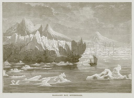 Magdalen Bay, Spitzbergen. Illustration for The Sea by F Whymper (Cassell, c 1890).