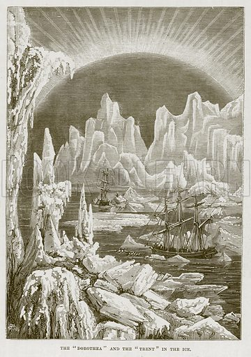 """The """"Dorothea"""" and the """"Trent"""" in the Ice. Illustration for The Sea by F Whymper (Cassell, c 1890)."""