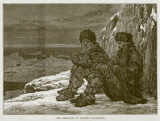 The Remnants of Knight's Expedition. Illustration for The Sea by F Whymper (Cassell, c 1890).