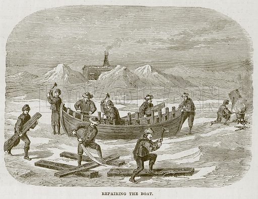 Repairing the Boat. Illustration for The Sea by F Whymper (Cassell, c 1890).