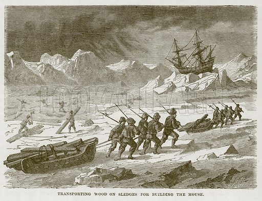 Transporting Wood on Sledges for Building the House. Illustration for The Sea by F Whymper (Cassell, c 1890).