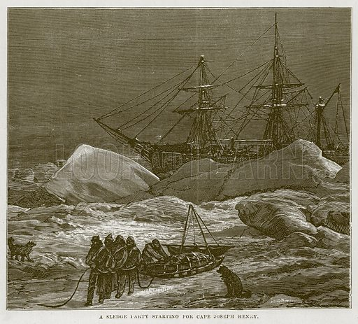 A Sledge Party Starting for Cape Joseph Henry. Illustration for The Sea by F Whymper (Cassell, c 1890).