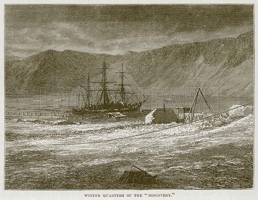 """Winter Quarters of the """"Discovery."""" Illustration for The Sea by F Whymper (Cassell, c 1890)."""