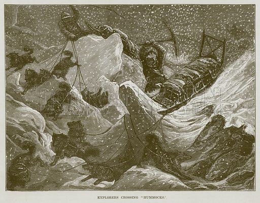 "Explorers Crossing ""Hummocks."" Illustration for The Sea by F Whymper (Cassell, c 1890)."