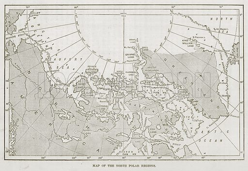 Map of the North Polar Regions. Illustration for The Sea by F Whymper (Cassell, c 1890).