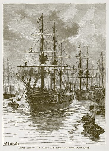 Departure of the Alert and Discovery from Portsmouth. Illustration for The Sea by F Whymper (Cassell, c 1890).