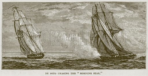 "De Soto Chasing the ""Morning Star."" Illustration for The Sea by F Whymper (Cassell, c 1890)."