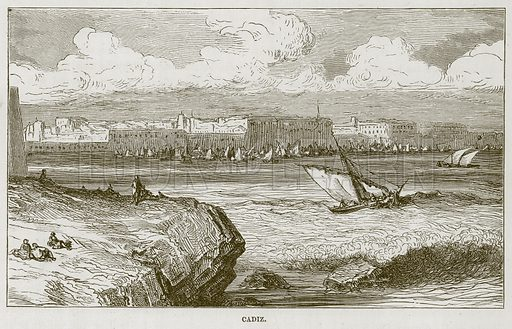 Cadiz. Illustration for The Sea by F Whymper (Cassell, c 1890).