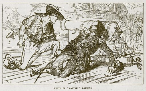 "Death of ""Captain"" Roberts. Illustration for The Sea by F Whymper (Cassell, c 1890)."