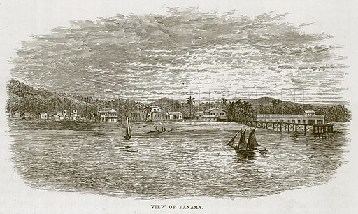 View of Panama. Illustration for The Sea by F Whymper (Cassell, c 1890).