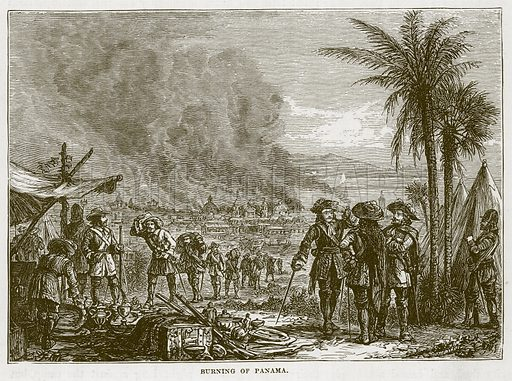 Burning of Panama. Illustration for The Sea by F Whymper (Cassell, c 1890).
