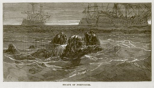 Escape of Portuguez. Illustration for The Sea by F Whymper (Cassell, c 1890).