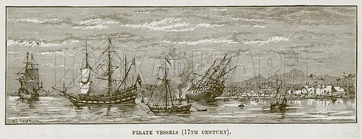 Pirate Vessels (17th Century). Illustration for The Sea by F Whymper (Cassell, c 1890).