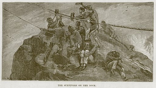 The Survivors on the Rock. Illustration for The Sea by F Whymper (Cassell, c 1890).