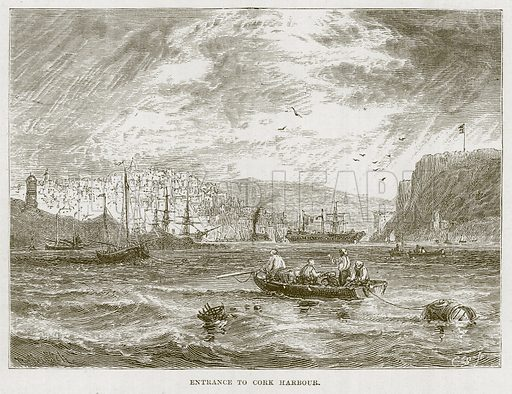 Entrance to Cork Harbour. Illustration for The Sea by F Whymper (Cassell, c 1890).