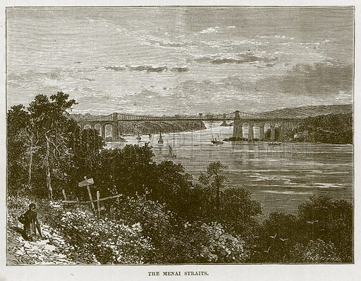 The Menai Straits. Illustration for The Sea by F Whymper (Cassell, c 1890).