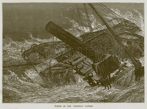 """Wreck of the """"Rothsay Castle."""" Illustration for The Sea by F Whymper (Cassell, c 1890)."""