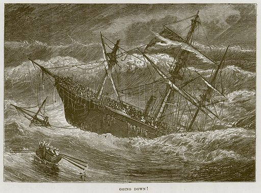 Going Down! Illustration for The Sea by F Whymper (Cassell, c 1890).