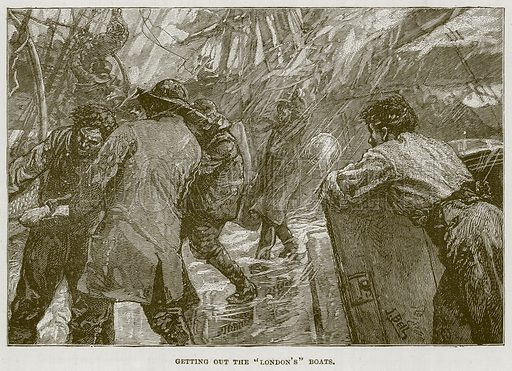 """Getting out the """"London's"""" Boats. Illustration for The Sea by F Whymper (Cassell, c 1890)."""