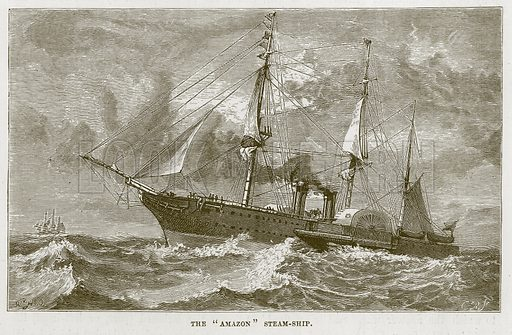 "The ""Amazon"" Steam-Ship. Illustration for The Sea by F Whymper (Cassell, c 1890)."