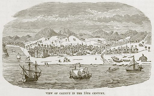 View of Calicut in the 15th Century. Illustration for The Sea by F Whymper (Cassell, c 1890).