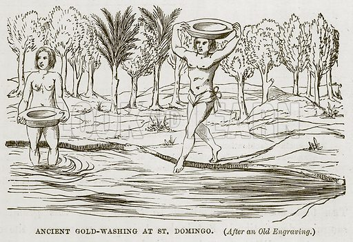 Ancient Gold-Washing at St. Domingo. Illustration for The Sea by F Whymper (Cassell, c 1890).
