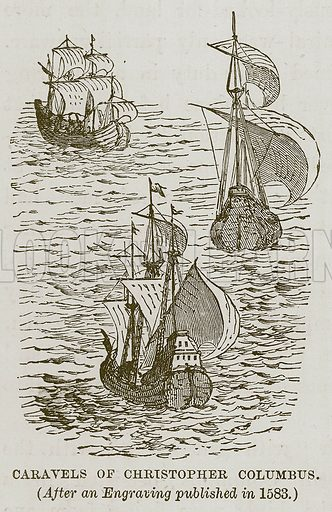 Caravels of Christopher Columbus. Illustration for The Sea by F Whymper (Cassell, c 1890).