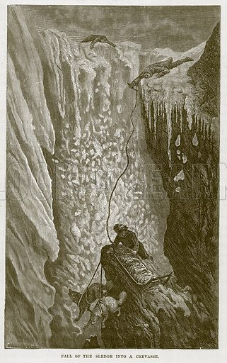 Fall of the Sledge into a Crevasse. Illustration for The Sea by F Whymper (Cassell, c 1890).