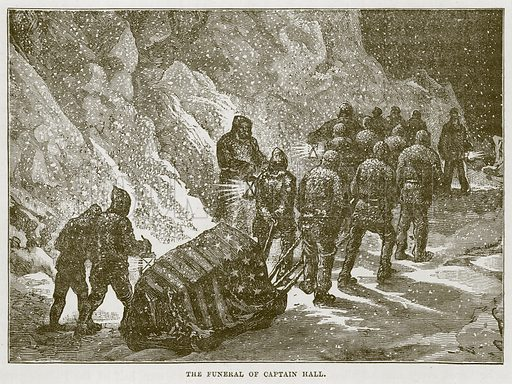 The Funeral of Captain Hall. Illustration for The Sea by F Whymper (Cassell, c 1890).