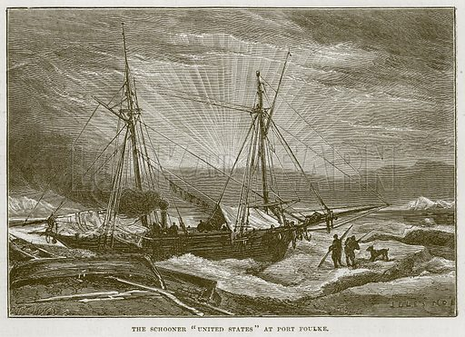 """The Schooner """"United States"""" at Port Foulke. Illustration for The Sea by F Whymper (Cassell, c 1890)."""