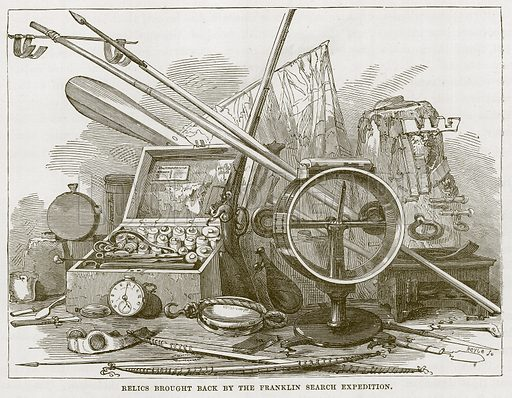 Relics Brought Back by the Franklin Search Expedition. Illustration for The Sea by F Whymper (Cassell, c 1890).