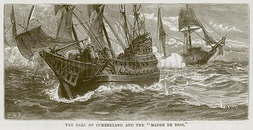 "The Earl of Cumberland and the ""Madre de Dios."" Illustration for The Sea by F Whymper (Cassell, c 1890)."