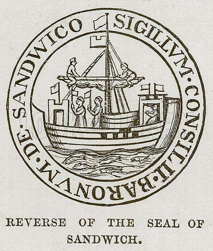 Reverse of the Seal of Sandwich. Illustration for The Sea by F Whymper (Cassell, c 1890).