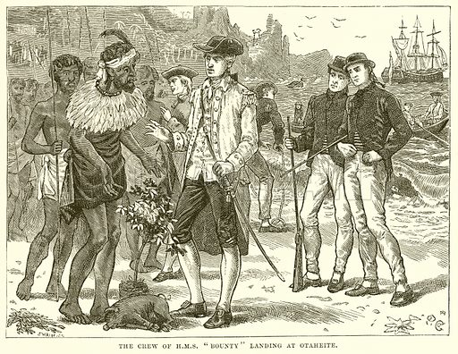 """The Crew of HMS""""Bounty"""" Landing at Otaheite. Illustration for The Sea by F Whymper (Cassell, c 1890)."""