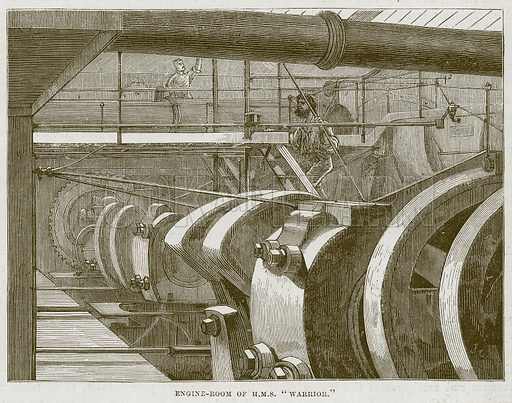"Engine-Room of H.M.S. ""Warrior."" Illustration for The Sea by F Whymper (Cassell, c 1890)."